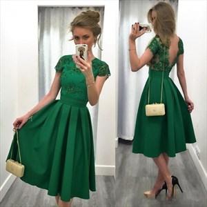 Emerald Green Cap Sleeve Backless Tea Length Homecoming Dress