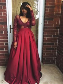 Burgundy Sheer Lace Applique Long Sleeve Ball Gown Formal Dress