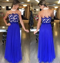 Royal Blue Lace Embellished Top Halter High Neck Long Prom Dress