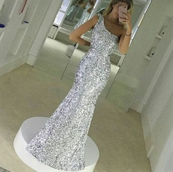 Silver One Shoulder Sequin Mermaid Bridesmaid Long Dress