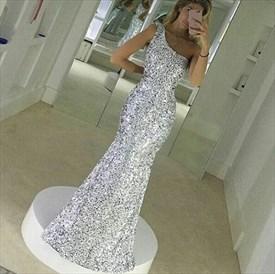 Silver One Shoulder Sequin Mermaid Bridesmaid Long Dress
