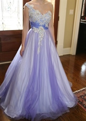 Lilac Lace Applique One Shoulder Beaded Ball Gown Wedding Dress