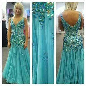 Turquoise Luxury Beaded Plunge Neck Floor Length Formal Dress