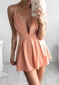 Peach Simple Spaghetti Strap V Neck Mini Cocktail Party Dress