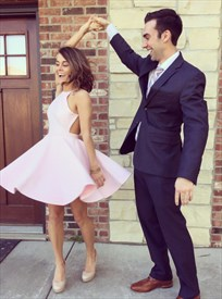 Simple Pink Open Back Short Cocktail Homecoming Dresses