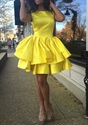 Yellow Short Ruffled Knee Length Sleeveless Cocktail Dress