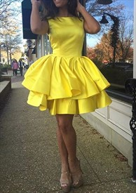 Yellow Short Ruffled Knee Length Sleeveless Cocktail Dress