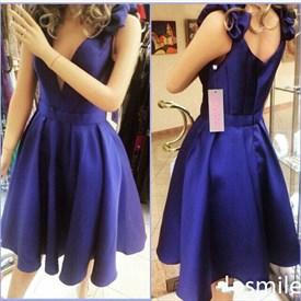 Navy Blue Contrast V Neck Short Cocktail Dress With Embellishments