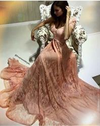 Pink V Neck Short Sleeve A Line Floor Length Formal Dress