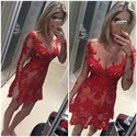 Red Illusion Sheer Lace Applique Long Sleeve Short Sheath Party Dress