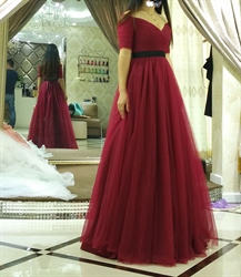 Simple Burgundy Tulle Ball Gown Wedding Dress With Half Sleeves