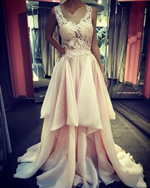Blush Pink V-Neck Sheer Illusion Top High-Low Evening Dresses