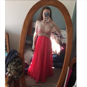 Red V-Neck Beading Sleeveless Floor-Length Chiffon Prom Dress