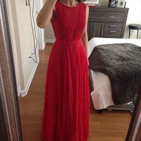 Red Embellished Lace A Line Floor Length Chiffon Bridesmaid Gown