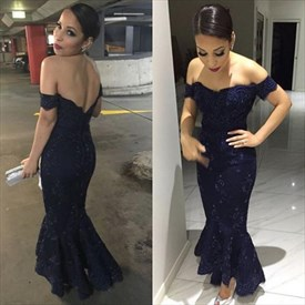 Navy Blue Off The Shoulder Backless Lace Mermaid Formal Dress