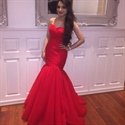 Red Strapless Sweetheart Drop Waist Ruched Mermaid Prom Dress