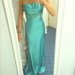 Turquoise Strapless Ruched Beaded-Bodice Long Backless Prom Dresses