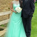 Mint Green Ball Gown Wedding Dress With Beaded Bodice Tulle Skirt
