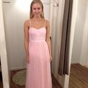 Pink Spaghetti Strap A Line Ruched Chiffon Bridesmaid Dress