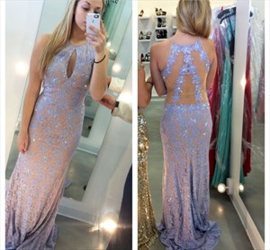 Lilac Beaded Lace Sheath Sheer Back Formal Dress With Keyhole Front