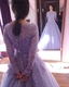 Lavender Lace Bodice Long Sleeve Tulle Ball Gown Prom Dress