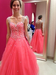 Coral Sheer Beaded Embellished Ball Gown Long Wedding Dress