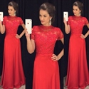 Red Short Sleeve Lace Embellished Bodice A Line Long Formal Dress
