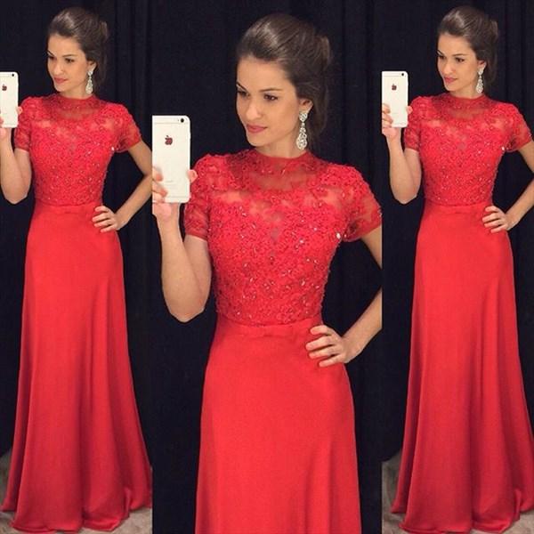 Red Short Sleeve Lace Embellished Bodice A Line Long Formal Dress