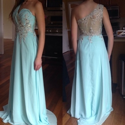 Light Blue One Shoulder Beaded Sheer Back Lace Applique Evening Dress