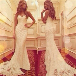 White Strapless Lace Long Mermaid Wedding Dress With Train