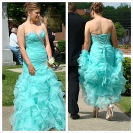 Turquoise Strapless Beaded Ruched Long Ruffle Prom Dress