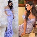 Elegant Lavender Off The Shoulder Lace Mermaid Long Evening Dress