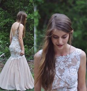 Peach Applique Backless Floor Length Illusion Mermaid Formal Dress