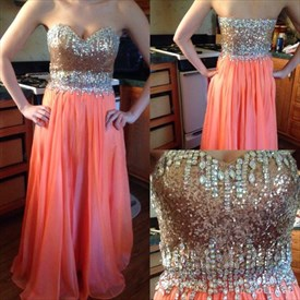 Coral Strapless Sequin Beaded Bodice A Line Long Evening Dress