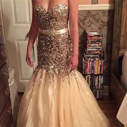 Luxury Ivory Strapless Long Beaded Mermaid Tulle Wedding Dress