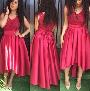 Red V Neck Lace Top Tea Length High Low Bridesmaid Dress With Bow
