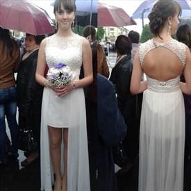 White Beaded Backless Short Wedding Dress With Sheer Overlay