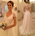 Ivory Lace Top Sheer Back Wedding Dress With Short Sleeves