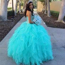 Turquoise Strapless Beaded Bodice Ball Gown Ruffle Wedding Dress
