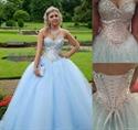 Light Blue Strapless Sequin Beaded Top Ball Gown Wedding Dress