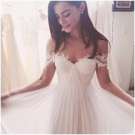 Simple Ivory Off The Shoulder Empire A Line Chiffon Wedding Dress