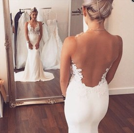 Ivory Lace Applique Backless Sheath Wedding Dress With Train