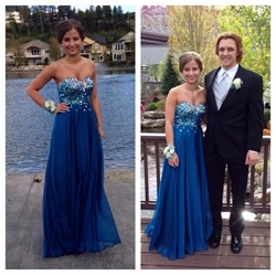 Strapless Beaded Bodice Empire Waist Floor Length Prom Dress
