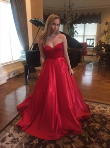 Red Strapless Beaded Bodice Embellished Ball Gown Wedding Dress