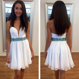 White Simple Strapless Short Homecoming Dress With Beaded Waist Detail