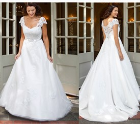 White Lace Embellished Top Ball Gown Wedding Dress With Short Sleeves