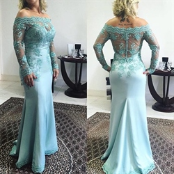 Light Blue Lace Top Off The Shoulder Long Sleeve Sheath Prom Dress