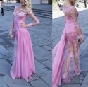 Lilac Long Sleeve Sheer Illusion Lace Sheath Prom Dress With Train