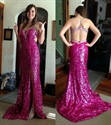 Hot Pink Open Back Sequin Long Formal Dress With Beaded Straps