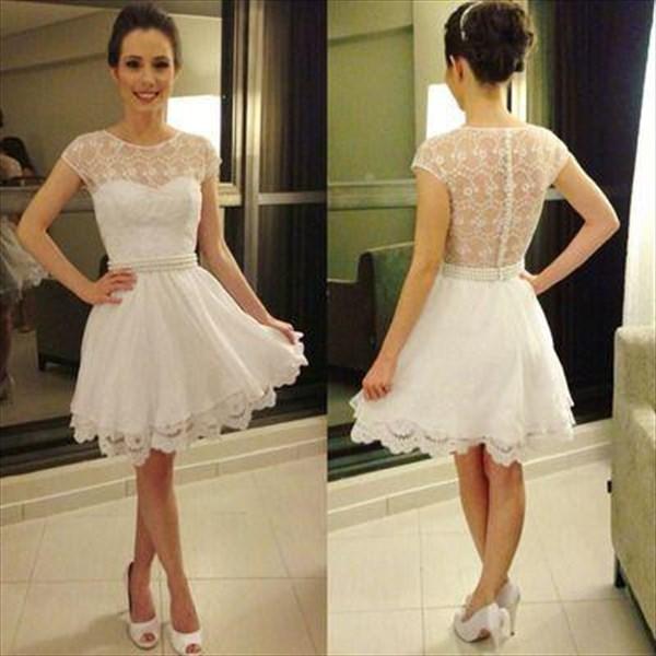 White Short Cap Sleeve Sheer Back Lace Embellished Top Cocktail Dress